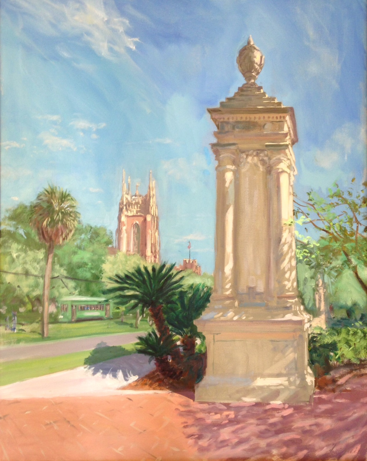 "View from Audubon Park Oil. 28""x 24"" Private collection"